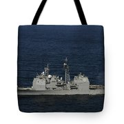 Uss Bunker Hill Fires Two Mk-45 5 Tote Bag