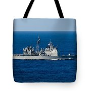 Uss Mobile Bay Transits The Pacific Tote Bag