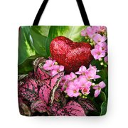 Valentine Heart And Flowers Tote Bag