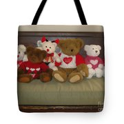 Valentine Teddy Bears In A Row  Tote Bag