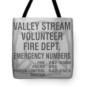 Valley Stream Fire Department In Black And White Tote Bag