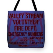 Valley Stream Fire Department In Blue Tote Bag by Rob Hans