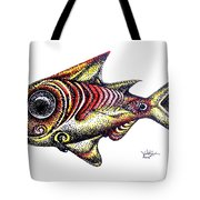 Variegated Red Fish In Stipple Tote Bag