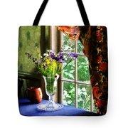 Vase Of Flowers And Mug By Window Tote Bag