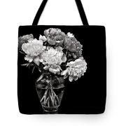 Vase Of Peonies In Black And White Tote Bag