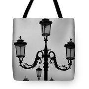 Venitian Lamp Posts Bw Tote Bag