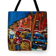 Verdun Rowhouses With Hockey - Paintings Of Verdun Montreal Street Scenes In Winter Tote Bag
