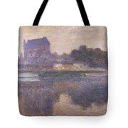 Vernon Church In Fog Tote Bag by Claude Monet