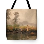 Victorian Lady By Row Boat Tote Bag