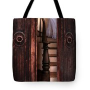 Victorian Lady Descending Stairs Tote Bag