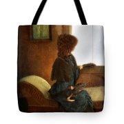 Victorian Lady Gazing Out The Window Tote Bag