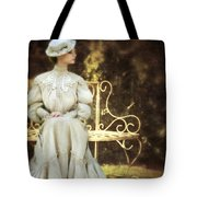 Victorian Lady On Garden Bench Tote Bag