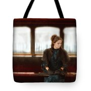 Victorian Lady On Street Car Tote Bag