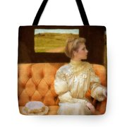 Victorian Lady Riding In A Carriage Tote Bag