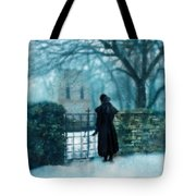 Victorian Woman At The Churchyard Gate Tote Bag