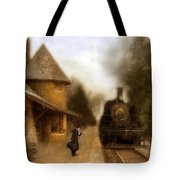 Victorian Woman At Train Station Tote Bag