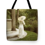 Victorian Woman In Garden With Parasol Tote Bag
