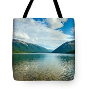 View Above A Beautiful Lake During Mid Day Tote Bag