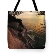 View Looking Down Cliffs At Sunset Tote Bag