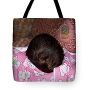 View Of A Mother Holding Her Baby With Only The Hair On The Head Visible Tote Bag