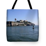 View Of Alcatraz From A Boat That Is Leaving The Island Tote Bag