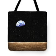 View Of Earth From The Moons Surface Tote Bag