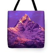 View Of Machhapuchhare At Sunrise From Tote Bag