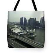 View Of Marina Bay Sands And Other Buildings From The Singapore  Tote Bag