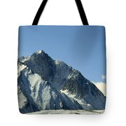 View Of Snow-covered Mountain Ridges Tote Bag