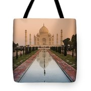 View Of Taj Mahal Reflecting In Pond Tote Bag