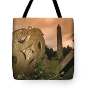 View Of The Round Tower And Gravestones Tote Bag