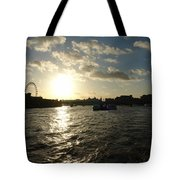 View Of The Thames At Sunset With London Eye In The Background Tote Bag