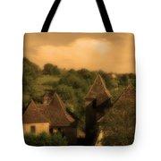 Village Of Castelnau Bretenoux In Sepia Tote Bag