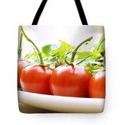 Vine Tomatoes On A Salad Plate Tote Bag