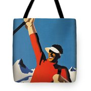 Vintage Austrian Skiing Travel Poster Tote Bag