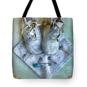 Vintage Baby Shoes And Diaper Pin On Handkercheif Tote Bag