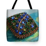 Vintage Blue And Green Rhinestone Brooch On Watercolor Tote Bag