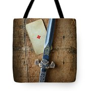 Vintage Dagger On Wood Table With Playing Card Tote Bag