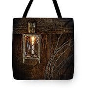 Vintage Lantern Hung In A Barn Tote Bag