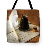 Vintage Letter And Quill Pen Tote Bag