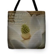Vintage Magnolia With Verse Tote Bag