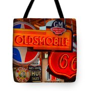 Vintage Neon Sign Oldsmobile Tote Bag