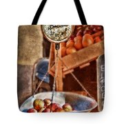 Vintage Scale At Fruitstand Tote Bag by Jill Battaglia