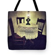 Vintage Table And Chairs By Oil Lamp Light Tote Bag