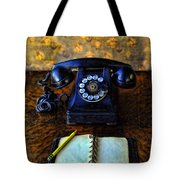 Vintage Telephone And Notepad Tote Bag
