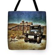 Vintage Vehicle At Vintage Gas Pumps Tote Bag by Jill Battaglia
