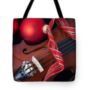 Violin And Red Ornaments Tote Bag
