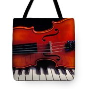 Violin On Piano Keys Tote Bag by Garry Gay