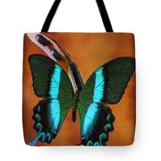 Violin With Green Black Butterfly Tote Bag