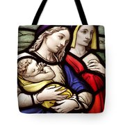 Virgin Mary And Baby Jesus Stained Glass Tote Bag